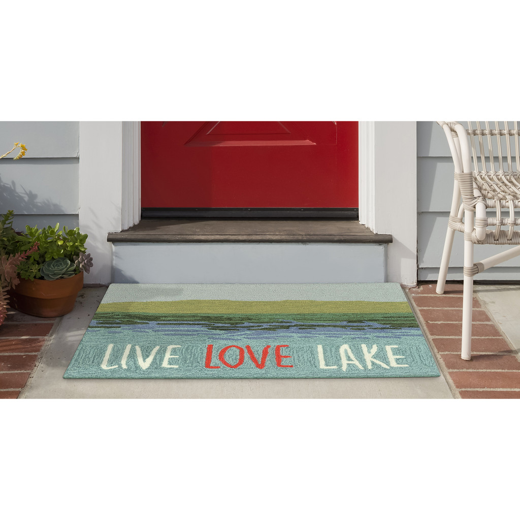 Live Love Lake Water Accent Rug front porch view