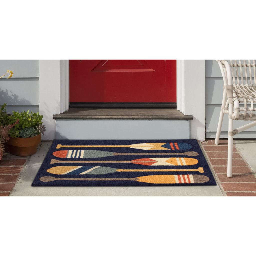 Striped Paddles Accent Rug front porch view