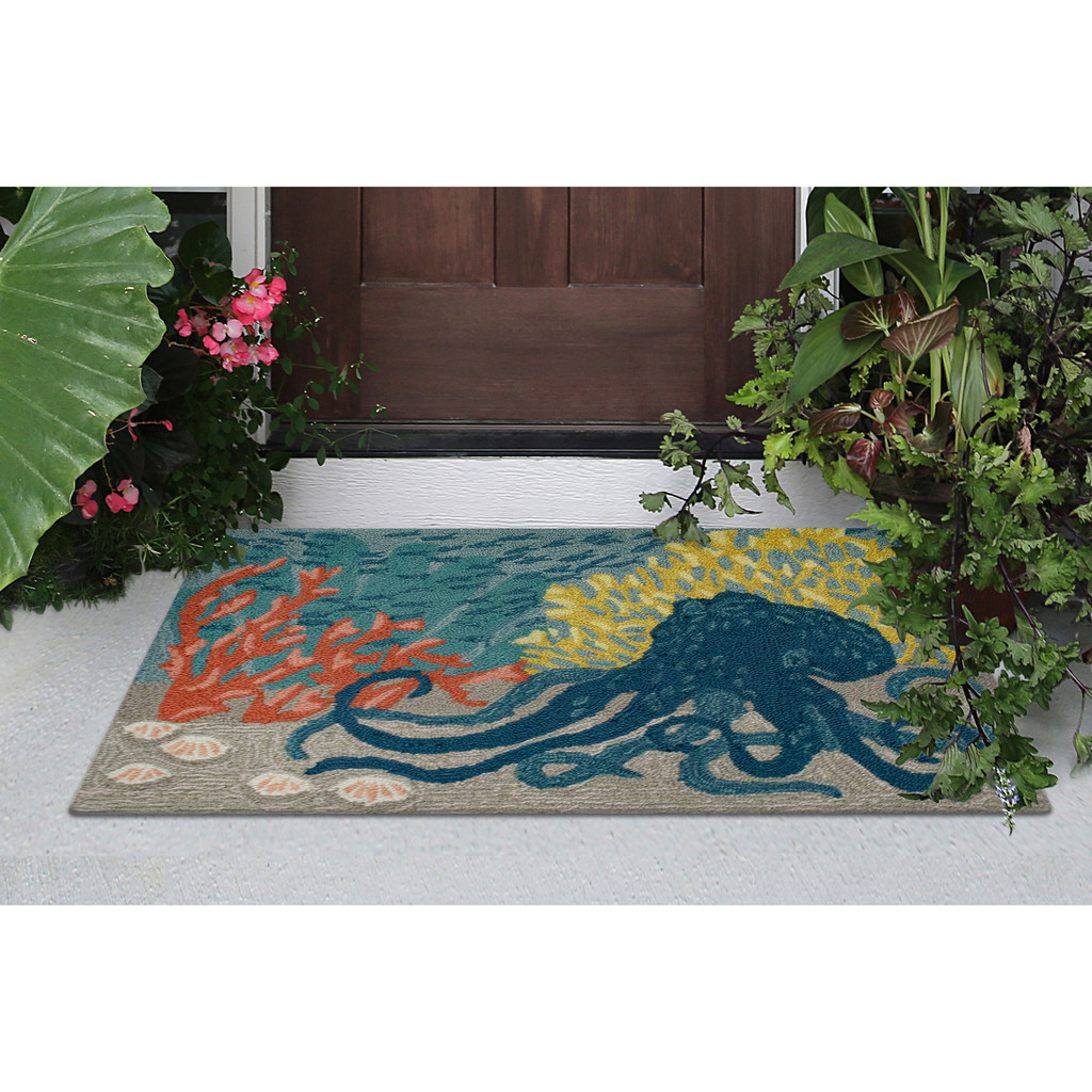 Under the Sea Octopus Accent Rug front porch view