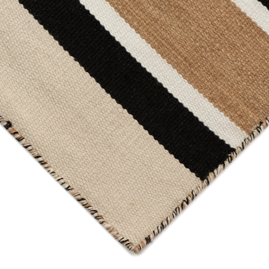 Cabana Black and Sisal Striped Rug corner