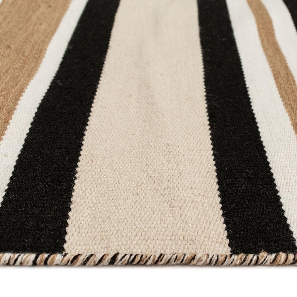 Cabana Black and Sisal Striped Rug edge