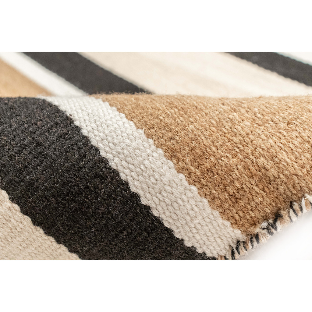 Cabana Black and Sisal Striped Rug roll edge close up