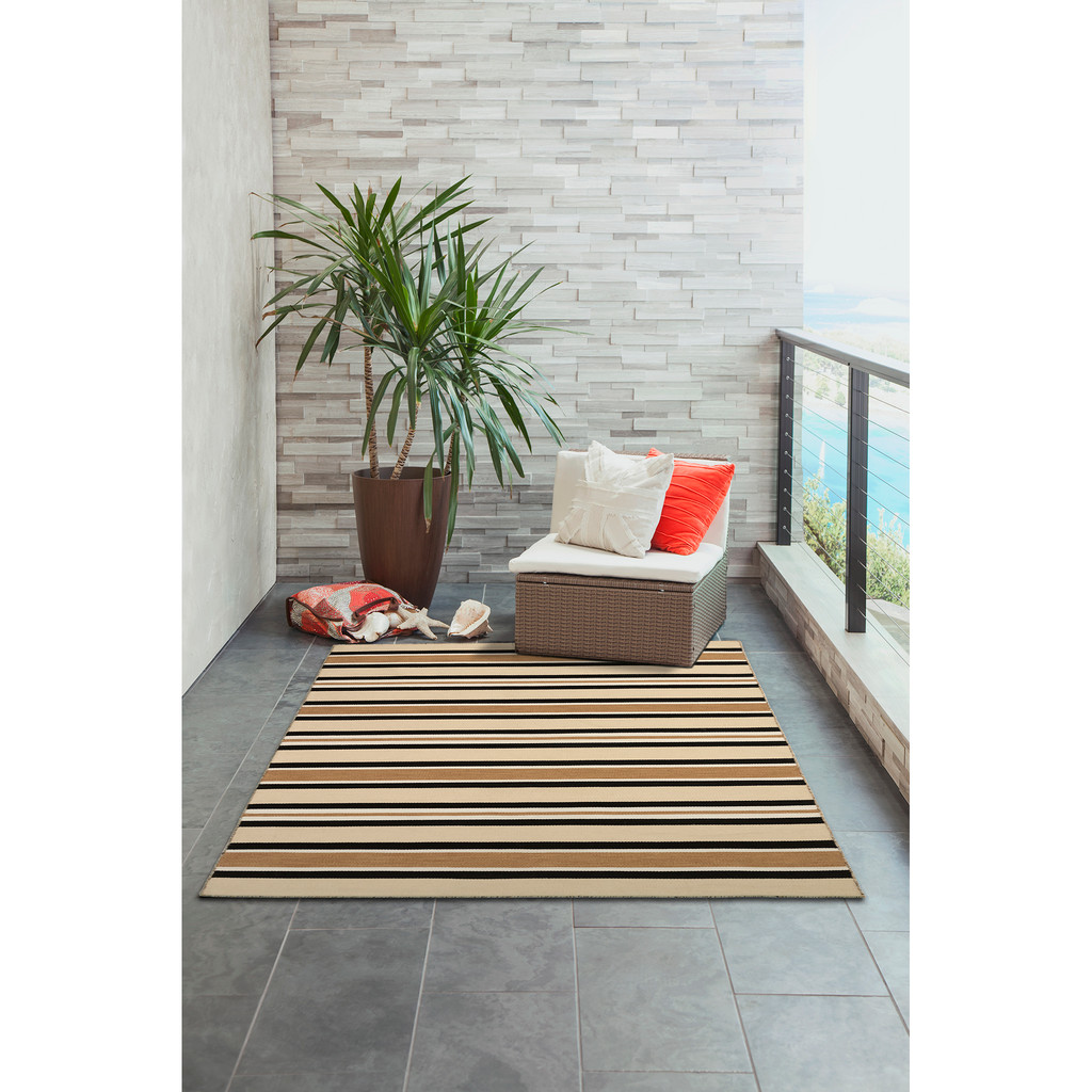 Cabana Black and Sisal Striped Rug patio view