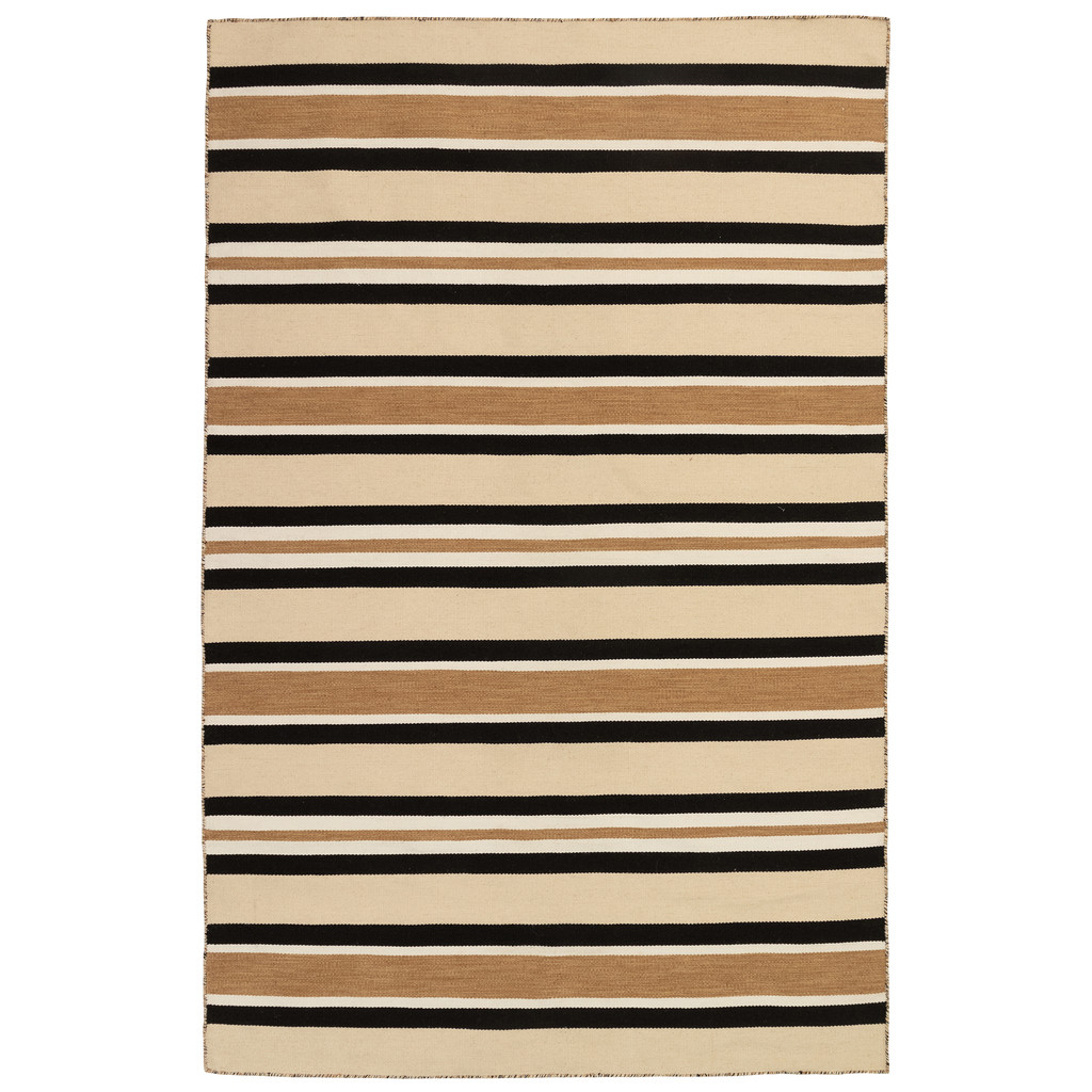Cabana Black and Sisal Striped Rug