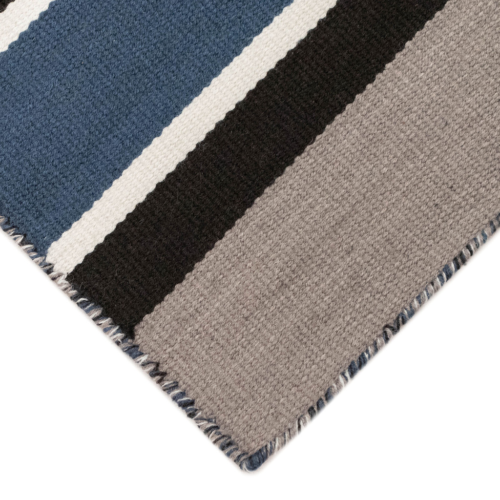 Cabana Navy Blues Striped Rug close up corner