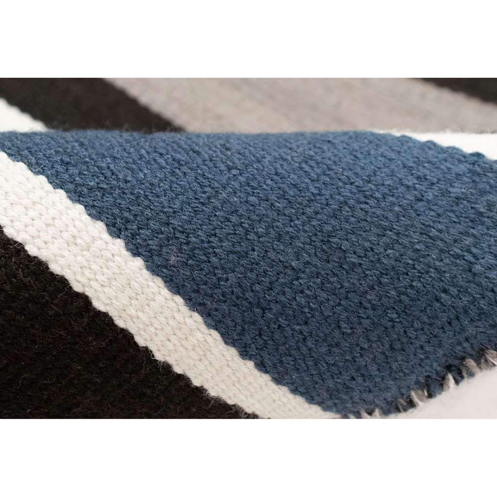 Cabana Navy Blues Striped Rug close up colors
