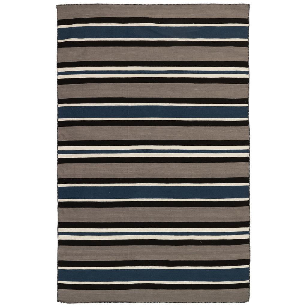 Cabana Navy Blues Striped Rug