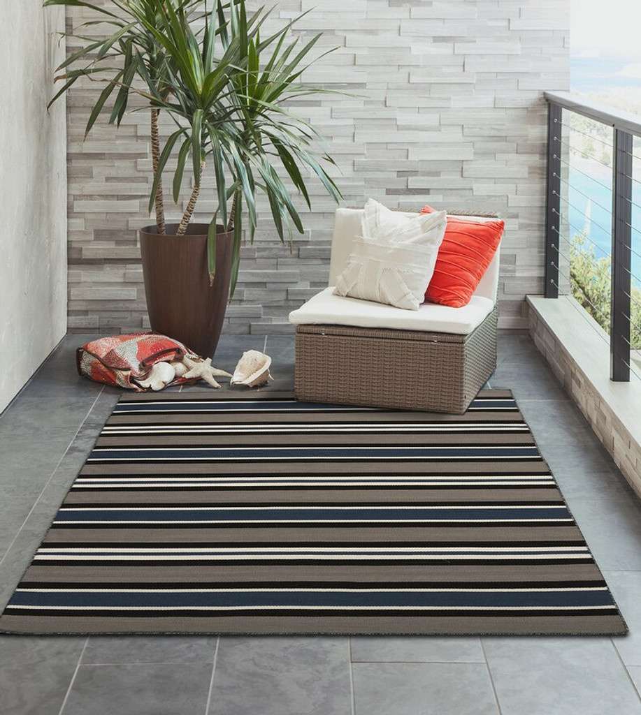 Cabana Navy Blues Striped Rug room view
