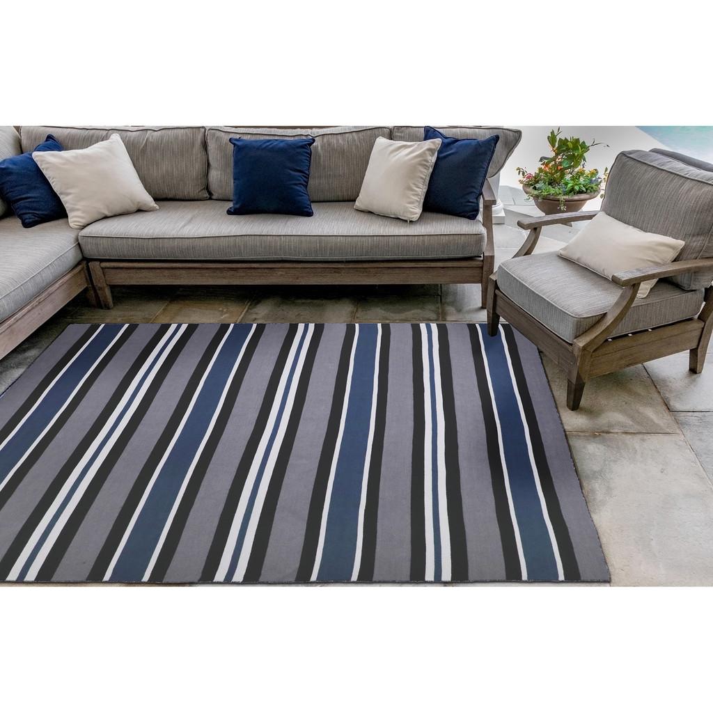 Cabana Navy Blues Striped Rug square rug image