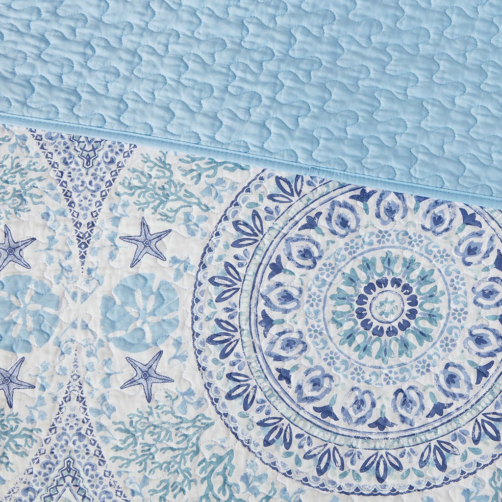 Summer Breeze 3-Piece Quilted Coverlet Set - Queen Size reverse side