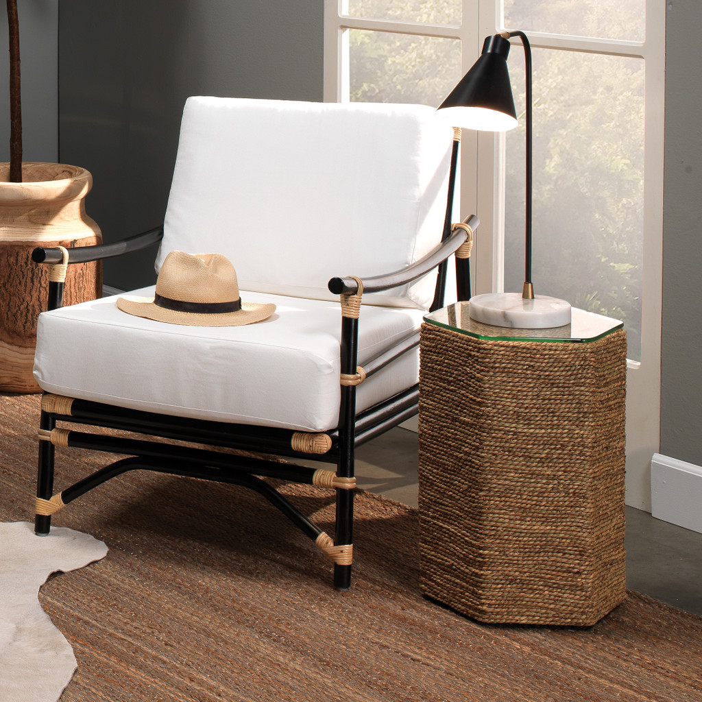 Peninsula Side Table in Natural Seagrass room example