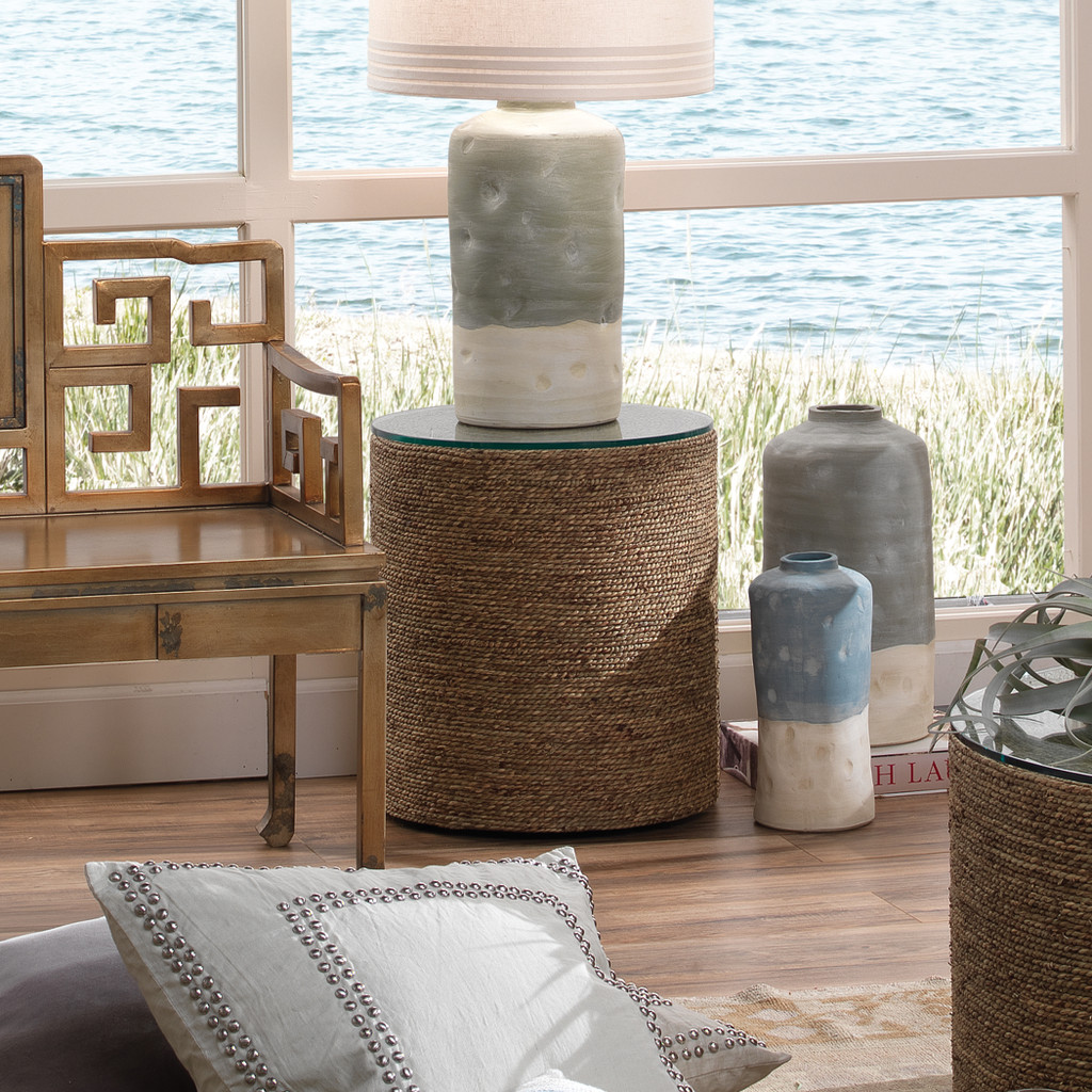 Harbor Glass Topped Side Table in Natural Seagrass  room example