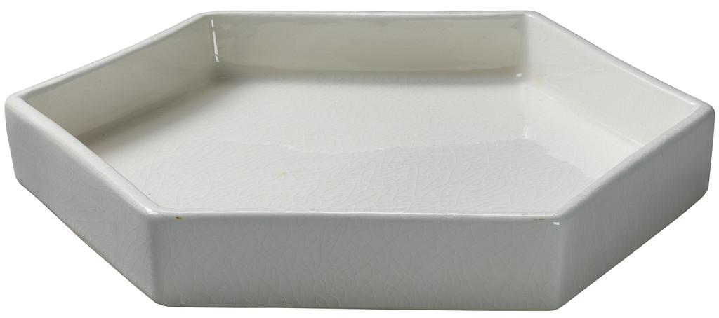 Large Porto Tray in White Ceramic