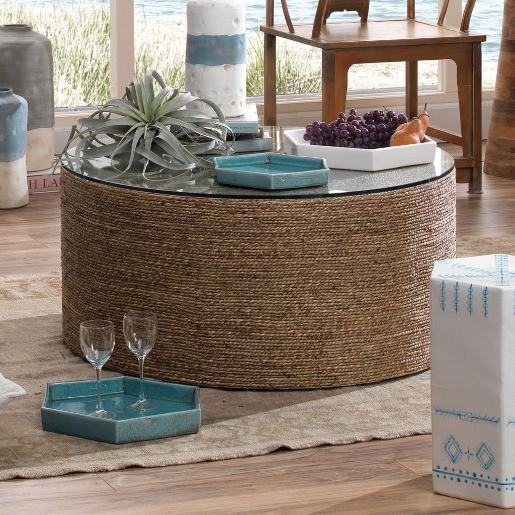 Large Porto Tray in White Ceramic room view with aqua version