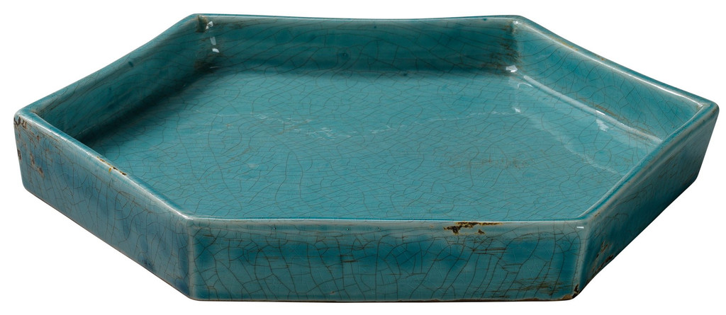 Small Porto Tray in Aqua Blue Ceramic