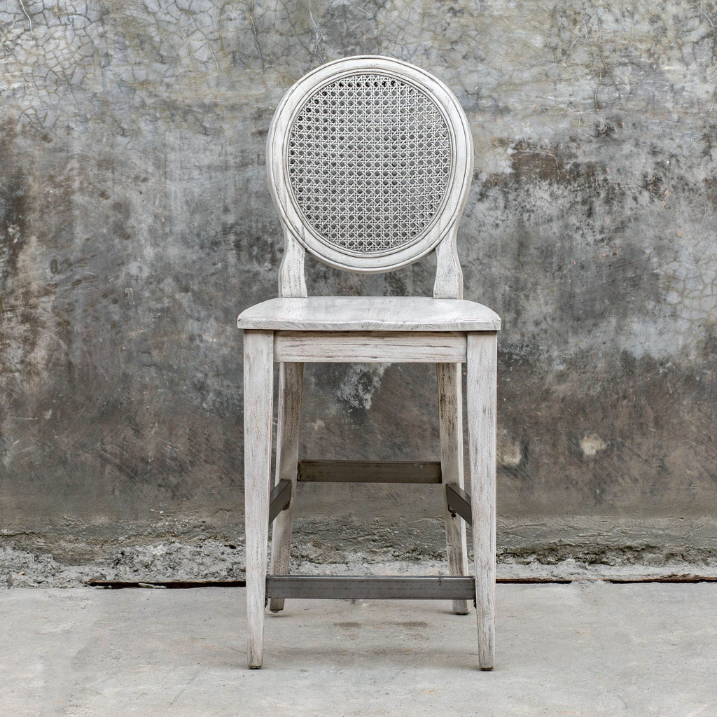 Clarion Aged White Counter Stool room example