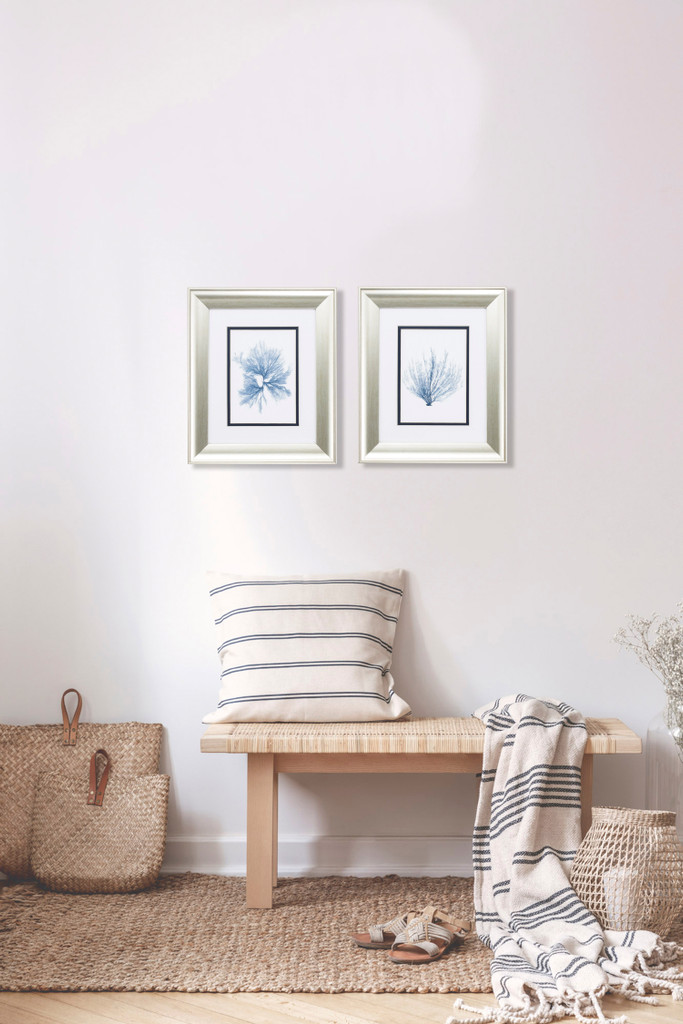 Navy Blue Sea Fan Art - Set of Two room example