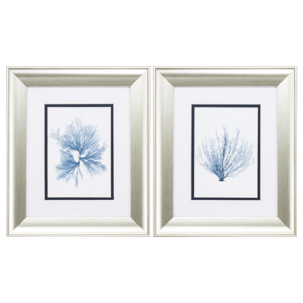 Navy Blue Sea Fan Art - Set of Two