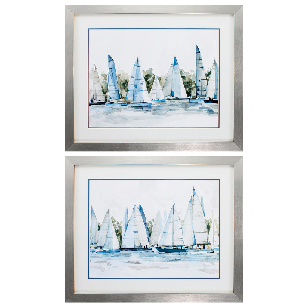 Marina in Watercolor Blues - Set of Two