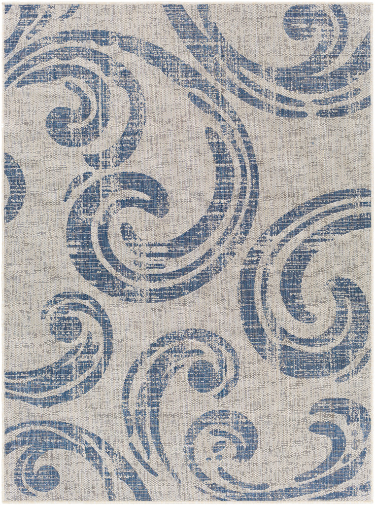 Malibu Blue Wave Swirls Rug