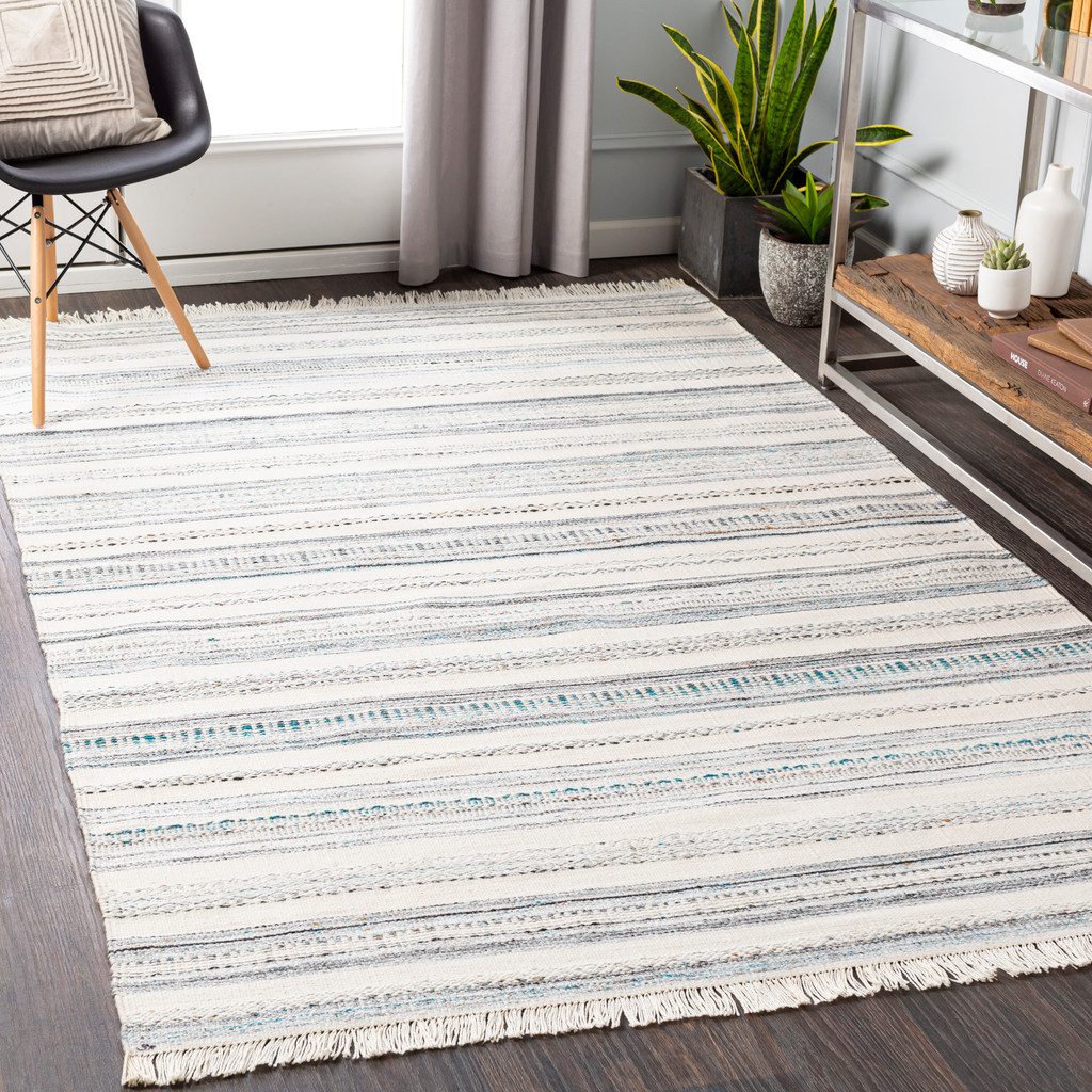 Azores Sea Striped Woven Rug room view