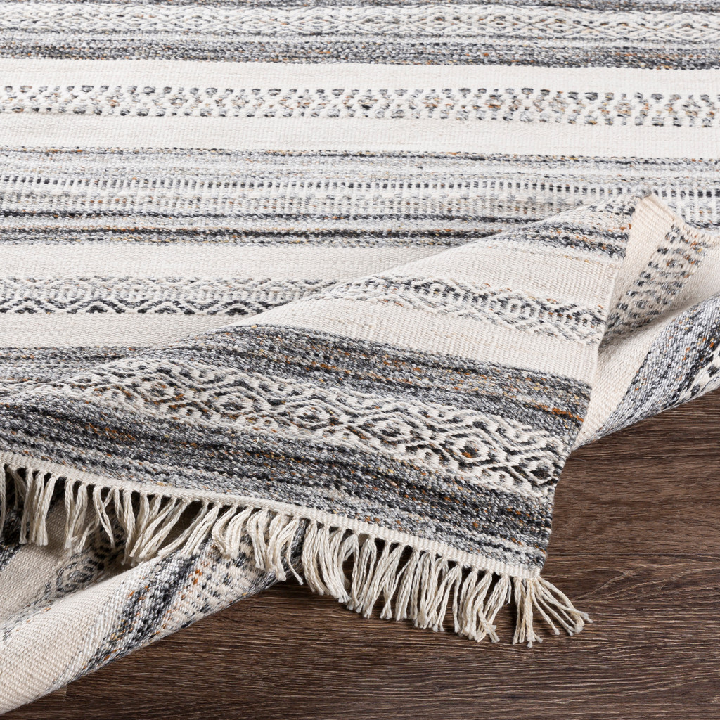 Azores Charcoal and Cream Striped Woven Rug fringed edge