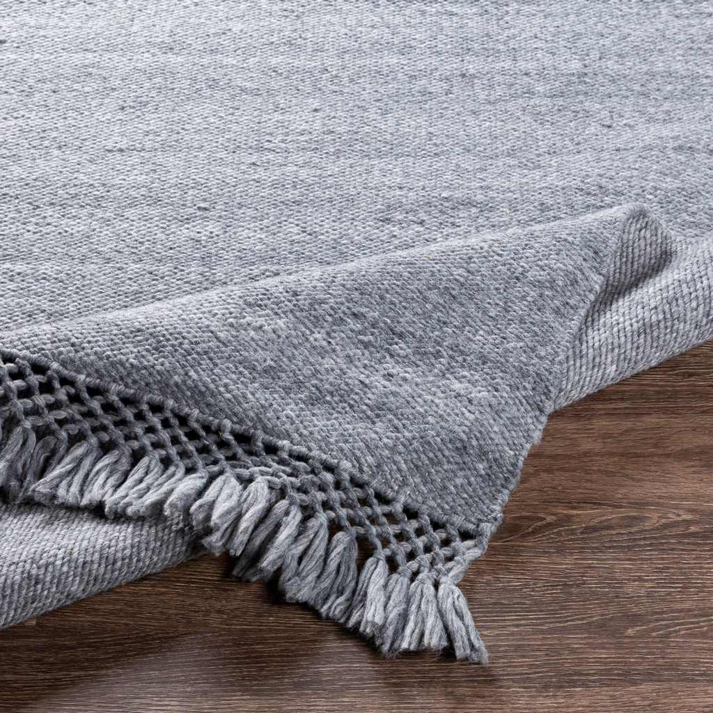 Azores Quarry Grey Braided Woven Rug corner detail