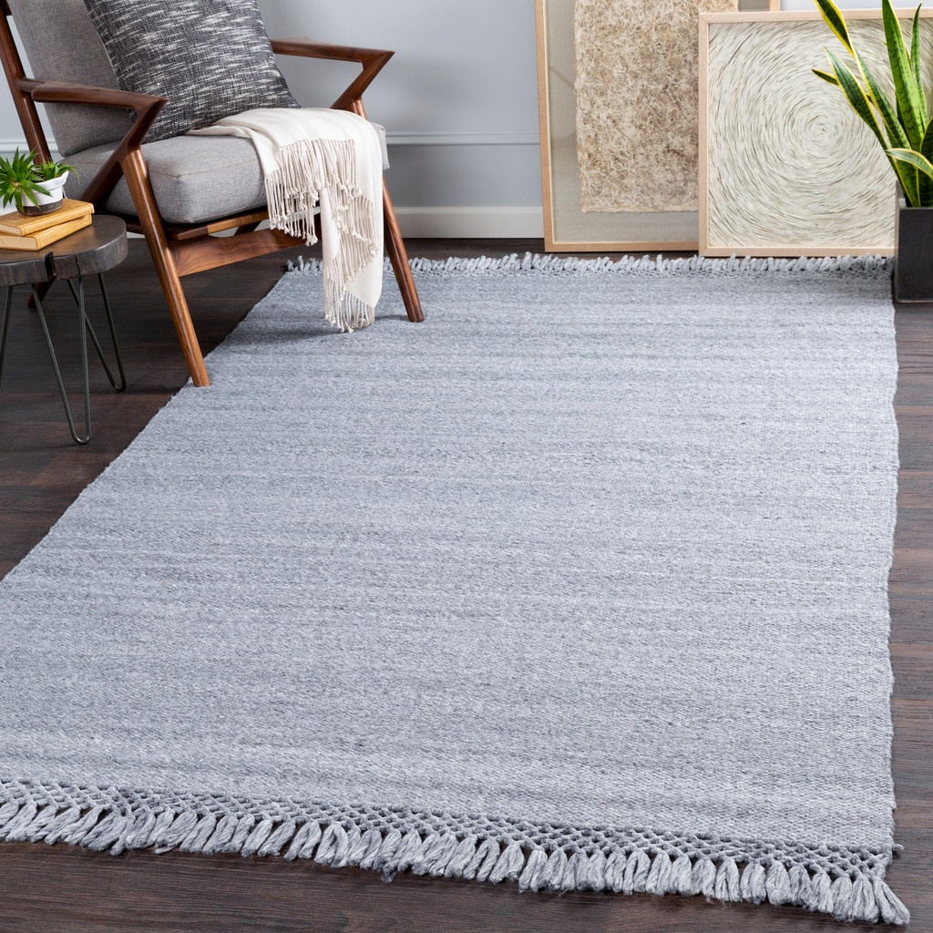 Azores Quarry Grey Braided Woven Rug room view