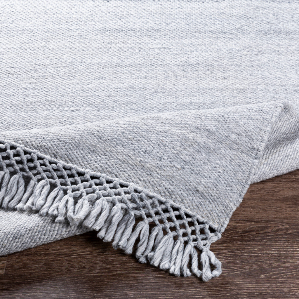 Azores Vapor Grey Braided Woven Rug edge detail