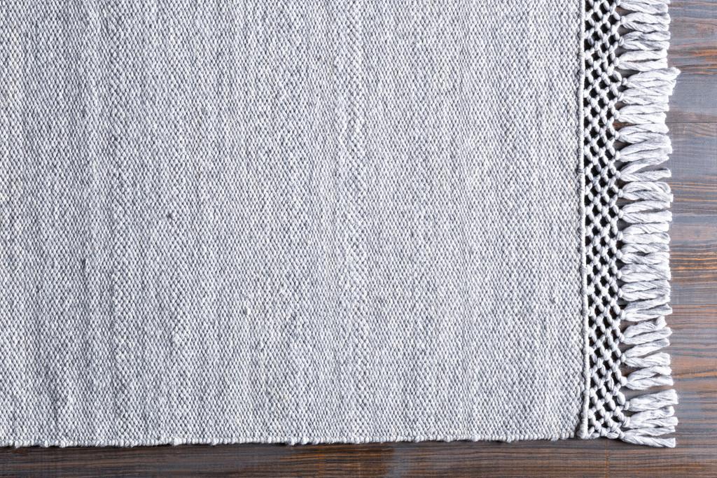 Azores Vapor Grey Braided Woven Rug floor fringe