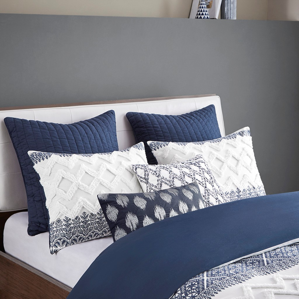 Camila Quilted Navy Euro Sham with bedding