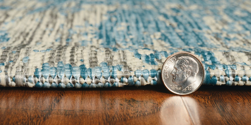 Teal Cloud View Casual Area Rug edge