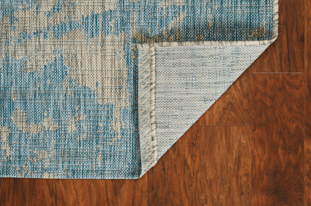Teal Cloud View Casual Area Rug backing