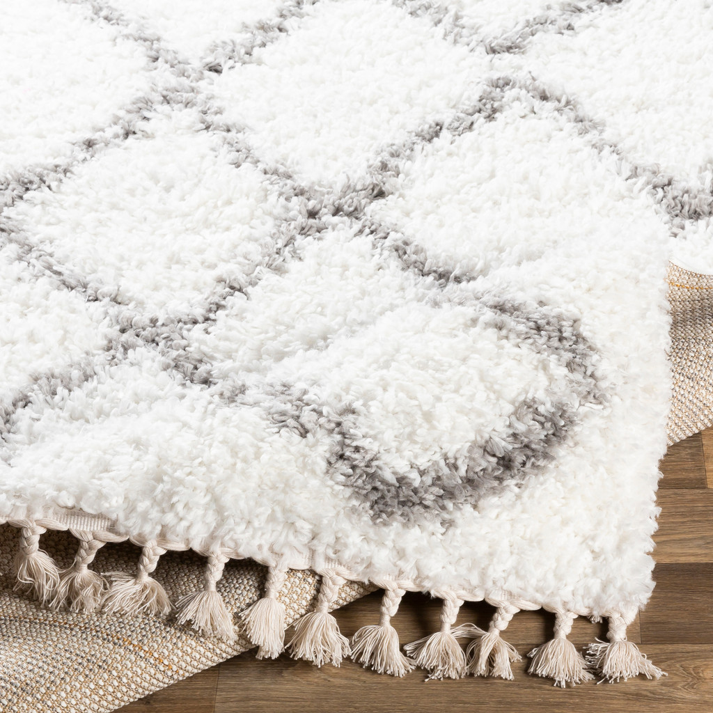 Point Lobos White Shag Rug edge with fringe