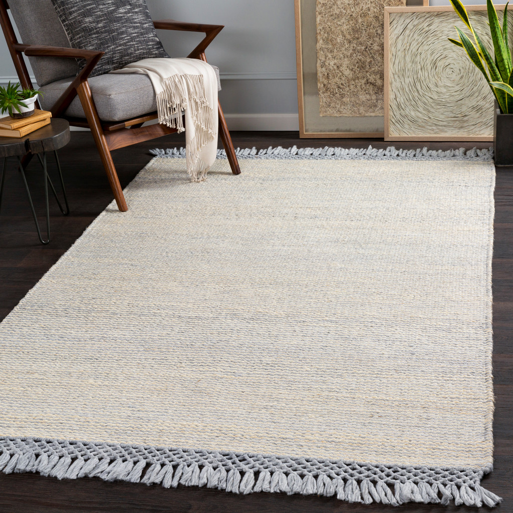 South Harbor Pale Blue Jute Area Rug room view