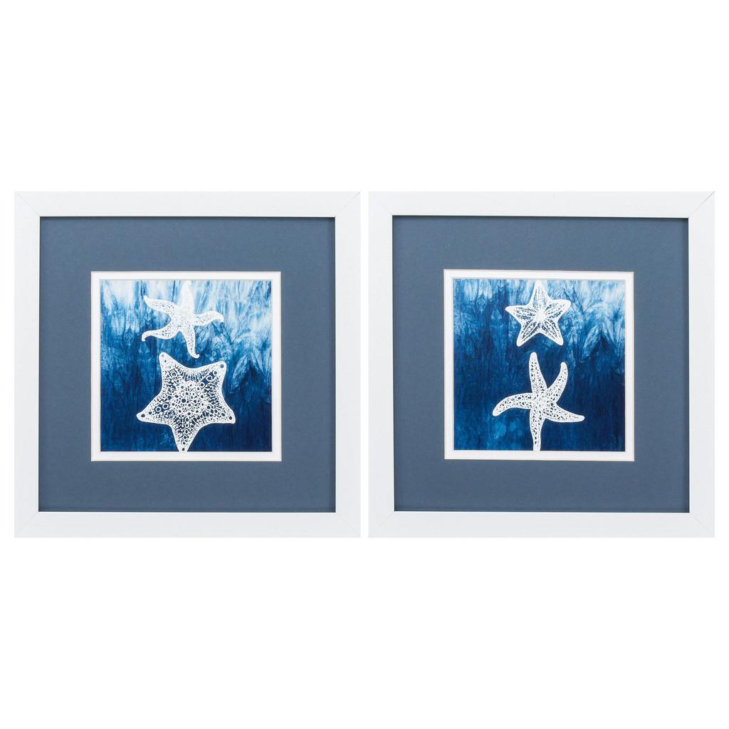 Blue Sea Stars White Framed Artwork