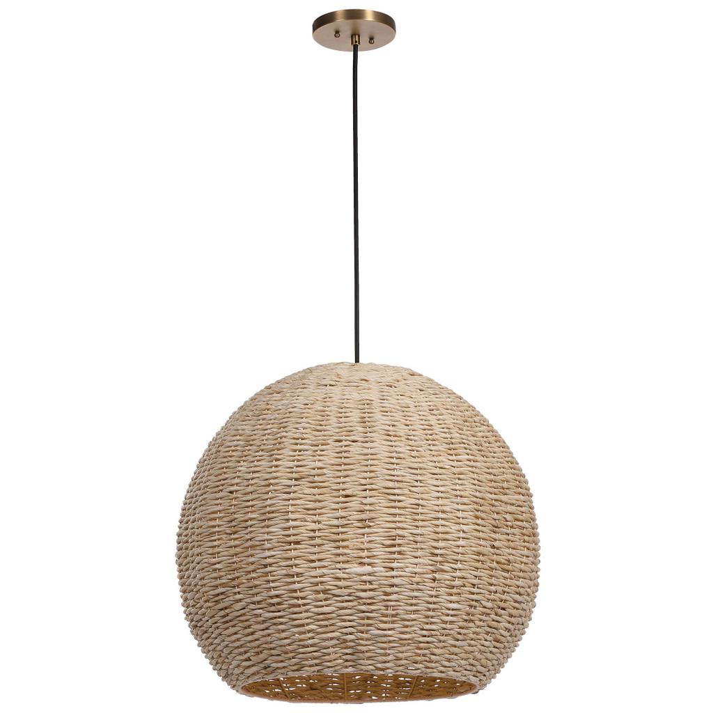 Seagrass Woven 1-Light Dome Pendant