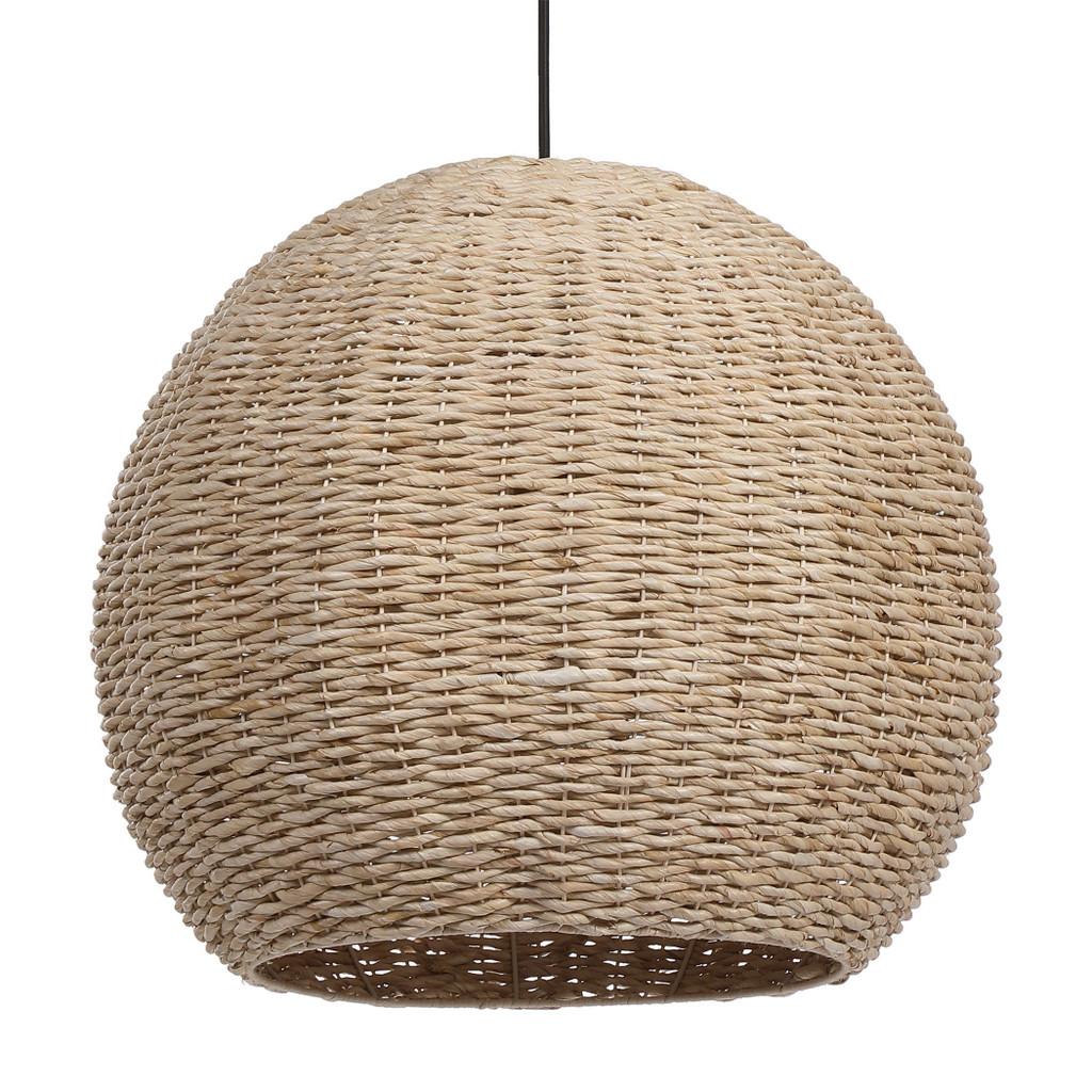 Seagrass Woven 1-Light Dome Pendant close up