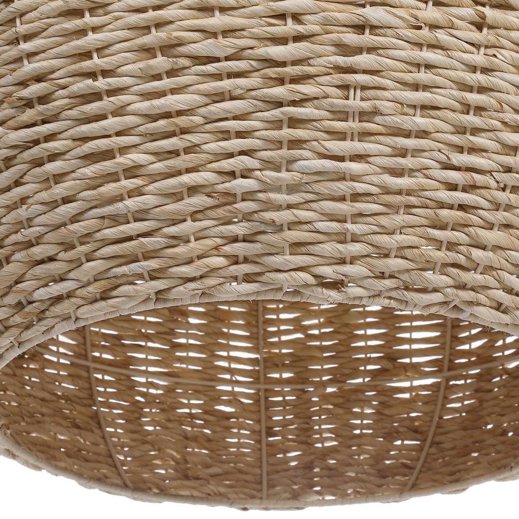 Seagrass Woven 1-Light Dome Pendant close up 2