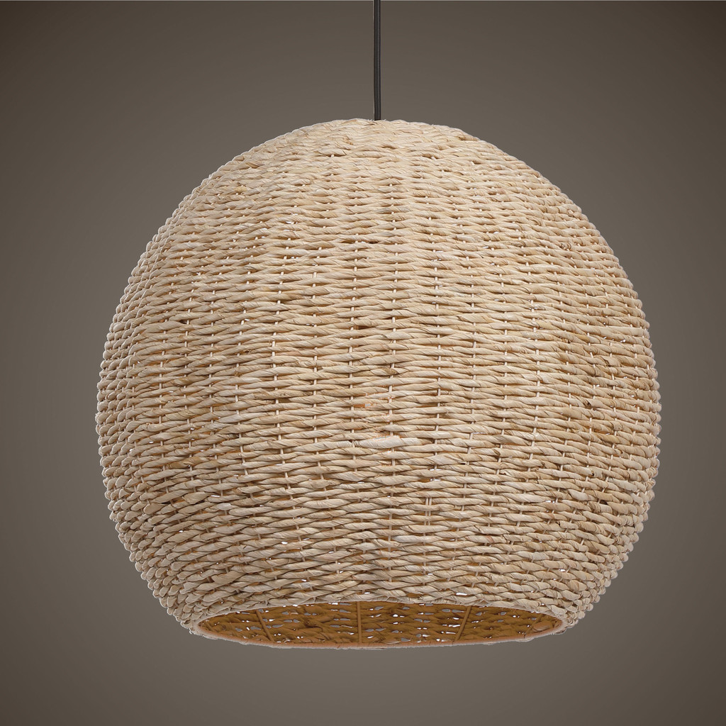Seagrass Woven 1-Light Dome Pendant light on view