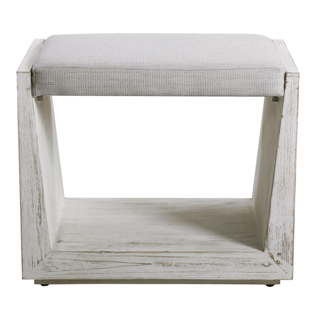 Cabana White Small Padded Bench front view