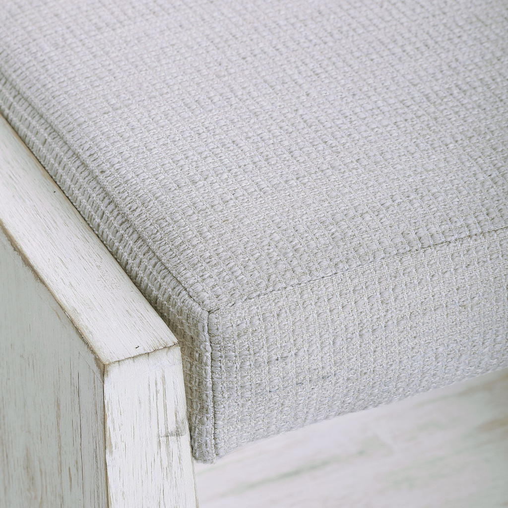 Cabana White Small Padded Bench top view