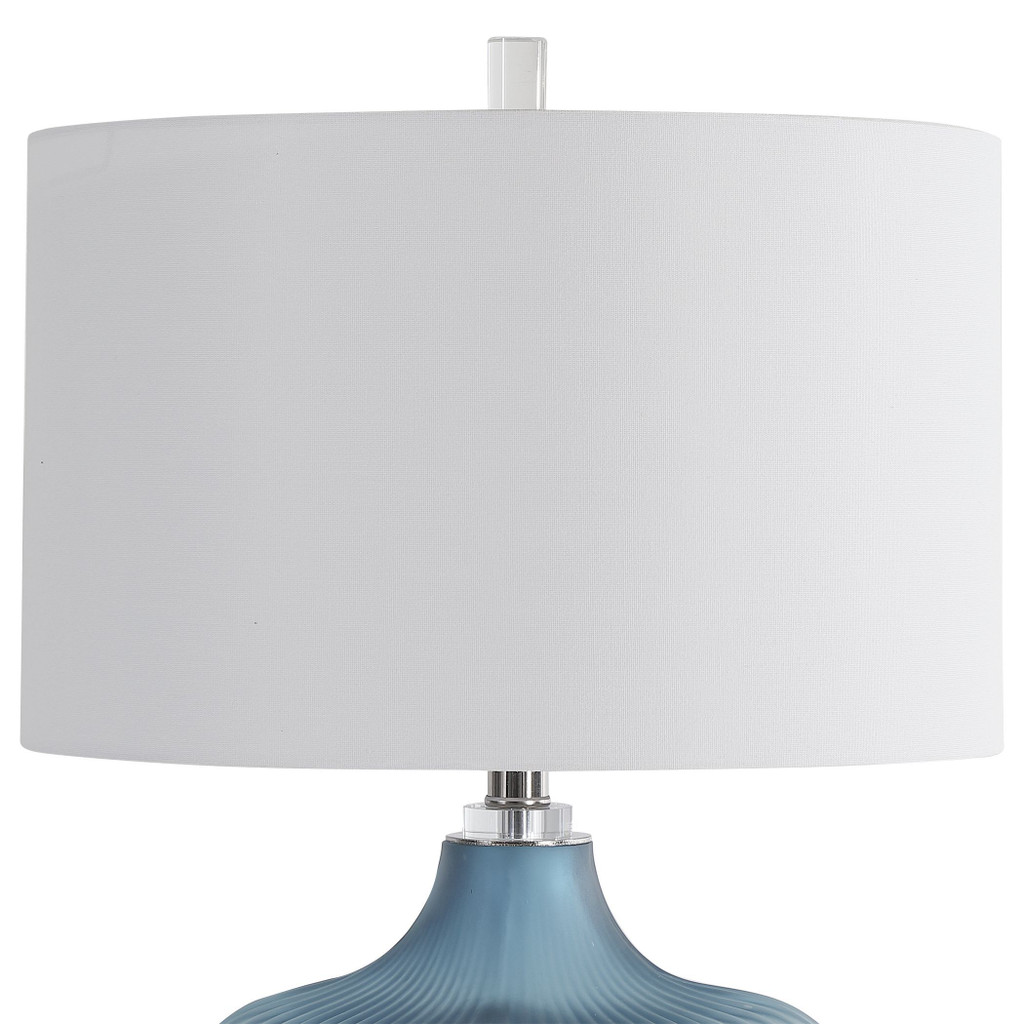 Marjorie Frosted Turquoise Table Lamp shade view