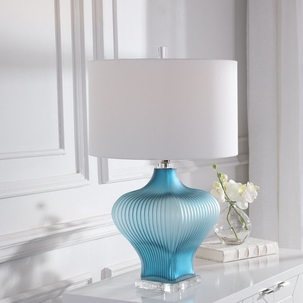 Marjorie Frosted Turquoise Table Lamp room view
