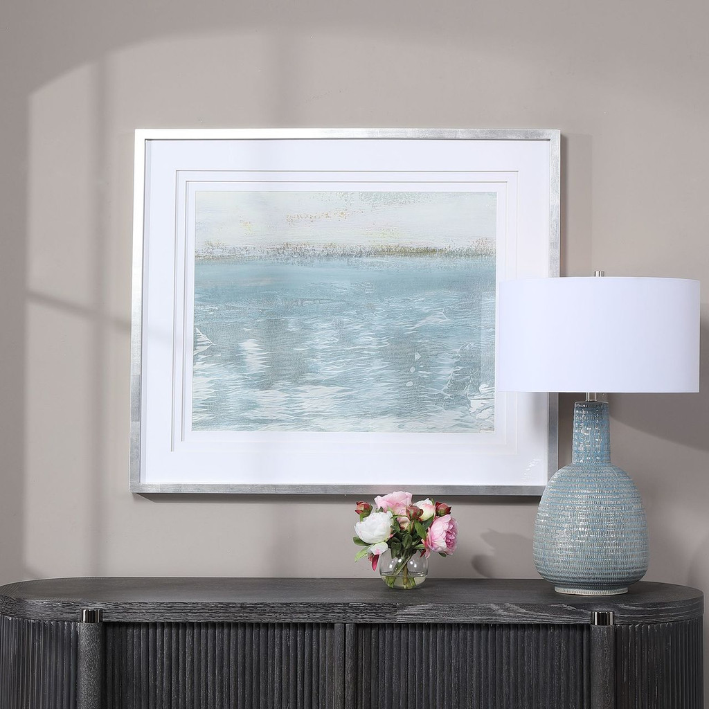 Delta Light Aqua Table Lamp shown with Sailing on print