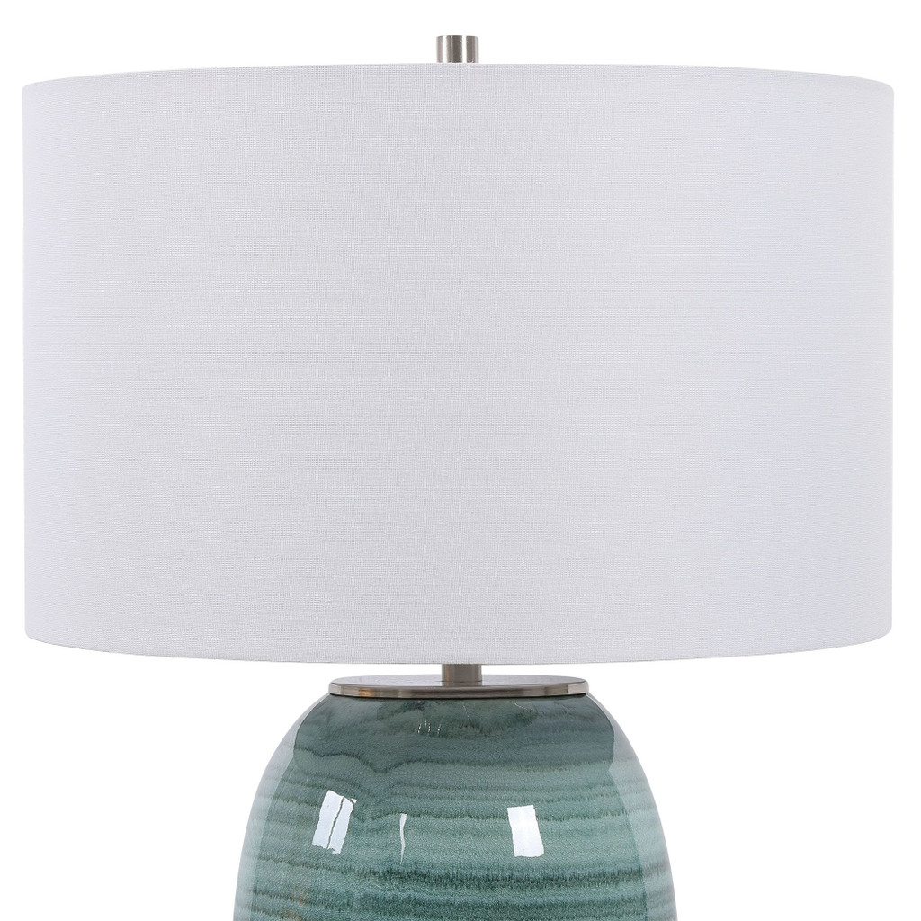 Caicos Teal Table Lamp shade view