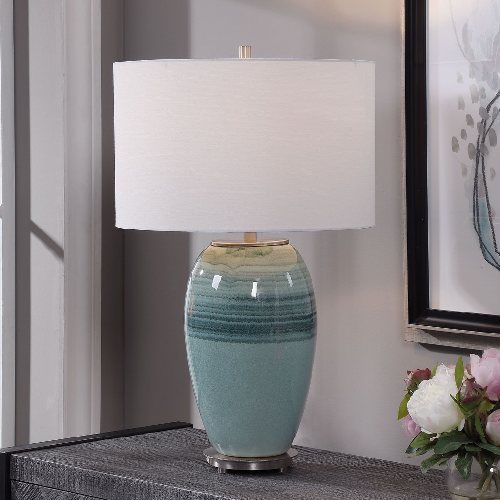 Caicos Teal Table Lamp room view