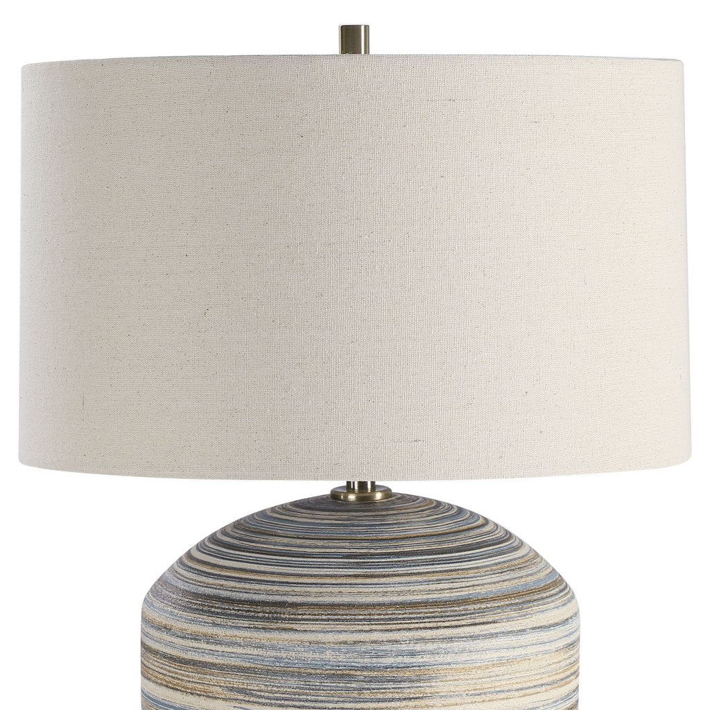 Seaside Striped Accent Lamp shade close up