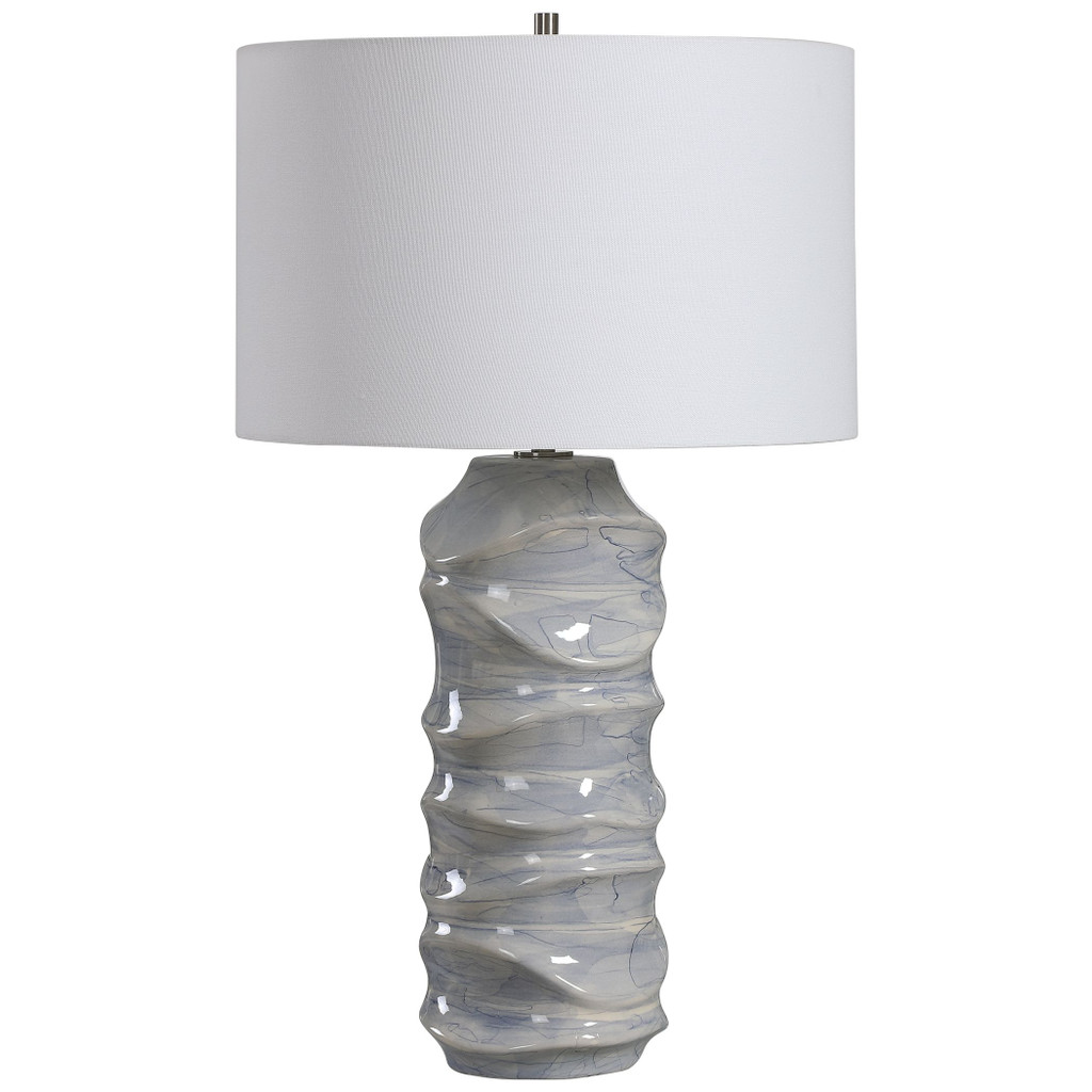 Waves Blue and White Table Lamp single