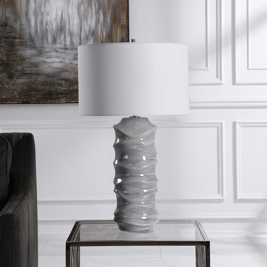 Waves Blue and White Table Lamp lifestyle